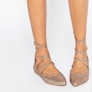 Steve Madden Gold Eleanorr Lace Up Pointed Flats